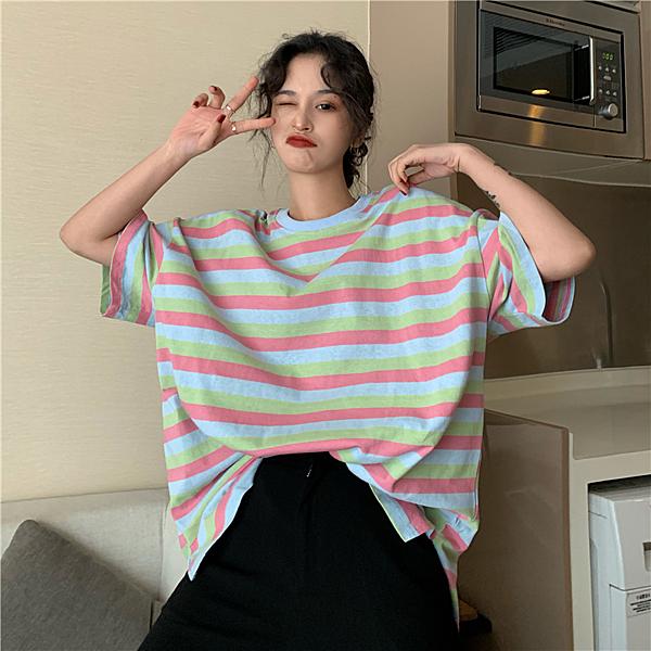EASONSHOP實拍復古多色撞色橫條紋薄款長版OVERSIZE落肩寬鬆短袖七分袖素色棉T恤裙連身裙