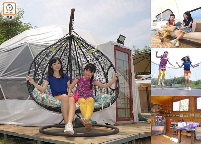 左:每個營地外均設有一張搖搖椅,坐在上面隨風搖曳,甚是寫意。(胡振文攝)
