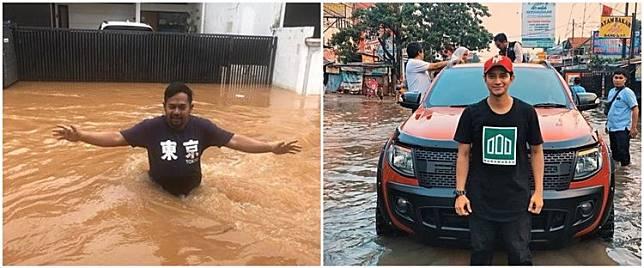 Momen 5 seleb nekat terjang banjir, ada yang demi berangkat kerja
