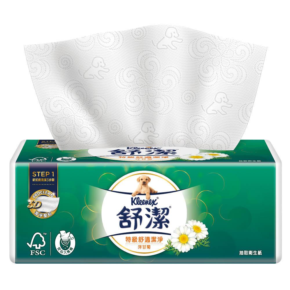 舒潔特級舒適潔淨抽取衛生紙-洋甘菊 88抽x8包x4串/箱