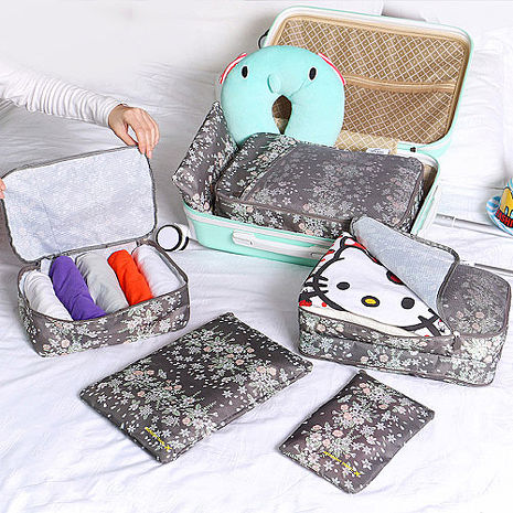 【韓版】420D加密防水小清新印花旅行收納6件套組(4色)灰咖花朵