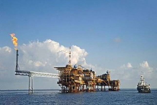 An offshore gas platform operates the Masela Block in the Arafura Sea.