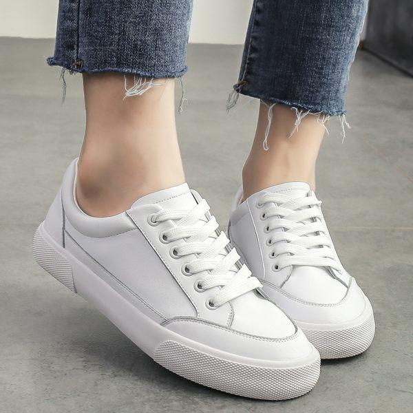 小白鞋 平底鞋 女鞋純色真皮休閒運動單鞋女平底系帶學生鞋女休閒鞋《小師妹》sm2993