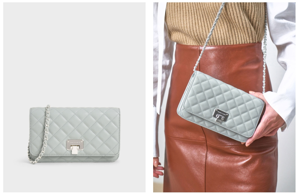 時髦防疫療癒色系包款推薦 2.  菱格紋手拿包