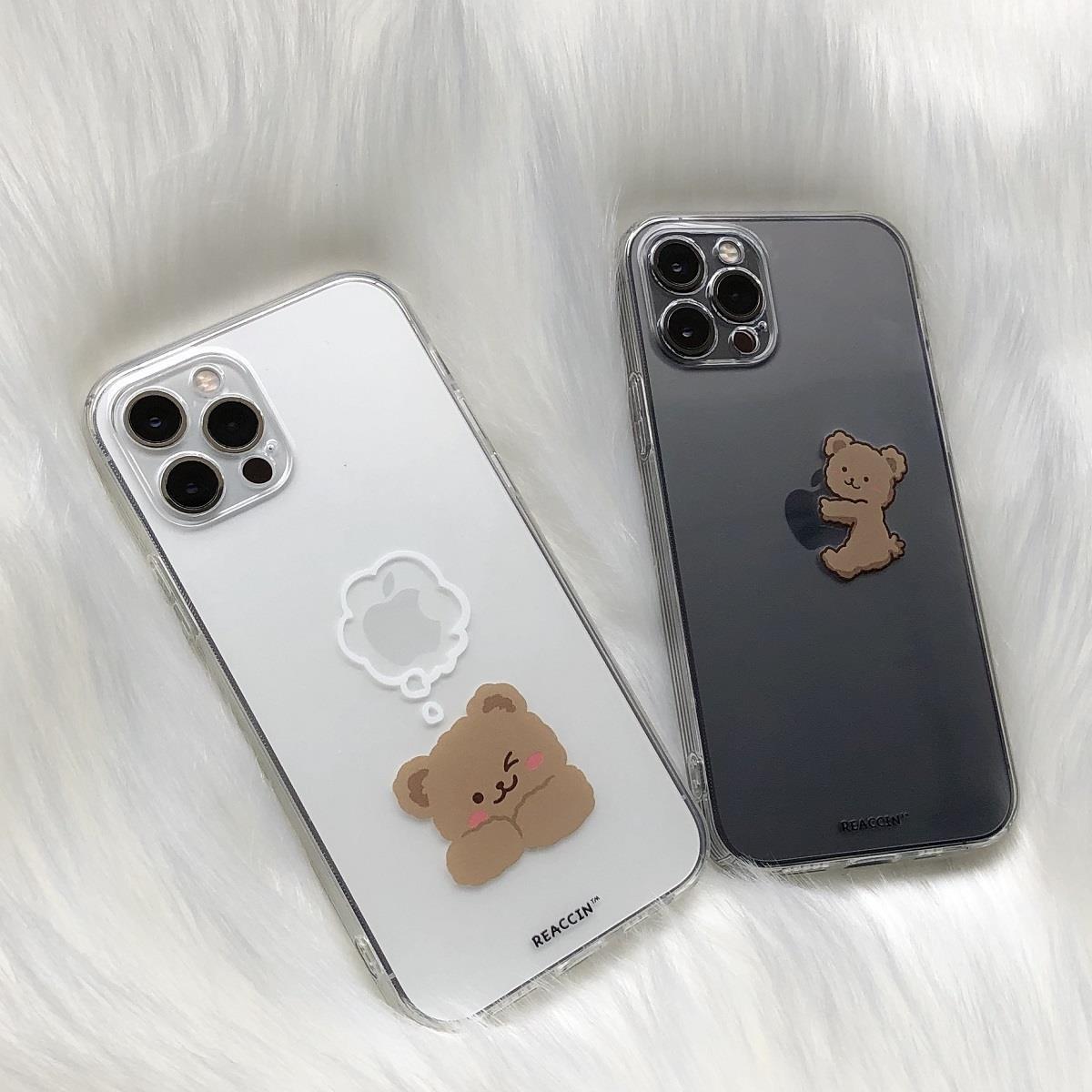 amor一中日韓系內衣 ins透明可愛卡通小熊蘋果12手機殼適用iphone11/xr/11ProMax硅膠7plus/