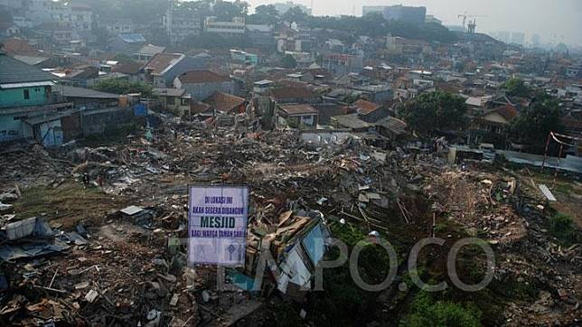 An aerial view of the demolished houses in Tamansari, Bandung, West Java, Friday, December 13, 2019. TEMPO/Prima Mulia