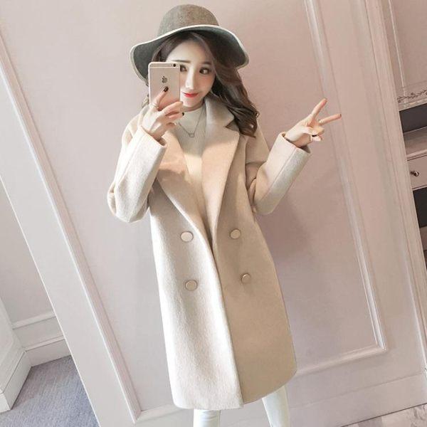 毛呢大衣女新款小個子中長款森繫學生外套呢子大衣加厚秋冬款