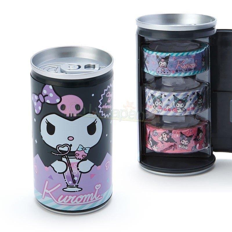 【真愛日本】4901610706893 三入紙膠帶-KU易開罐AFI 庫洛米 三麗鷗 裝飾 紙膠帶 裝飾貼紙 文具