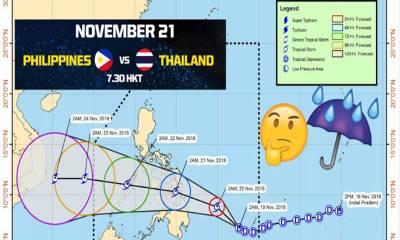Bão lớn 'đe dọa' trận thư hùng Philippines vs Thái Lan