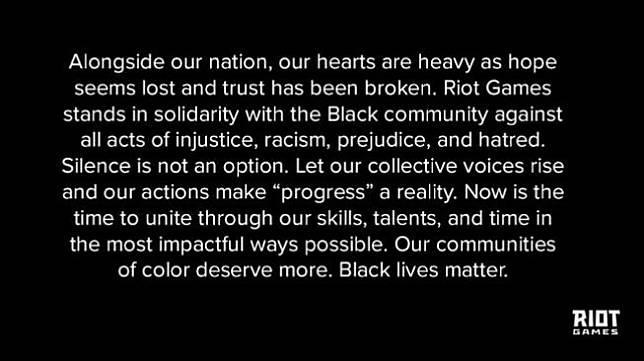 Black Lives Matter diserukan publisher game ternama. (Twitter/ RiotGames)