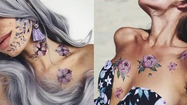俄羅斯正妹花朵刺青藝術家新作品!夢幻浪漫兼具的泳裝登場了