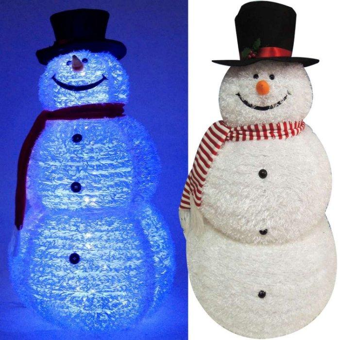 【摩達客】(預購3~5天出貨)中型(105CM)白色彈簧摺疊雪人玩偶擺飾 (100燈LED燈