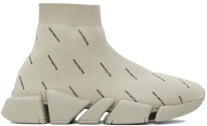 Balenciaga 米色 Speed 2.0 高帮运动鞋