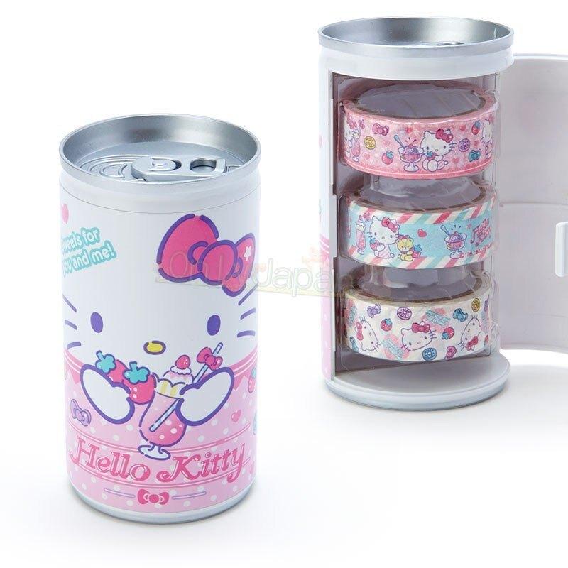 【真愛日本】4901610706794 三入紙膠帶-KT易開罐AFI 凱蒂貓kitty 裝飾 紙膠帶 裝飾貼紙 文具