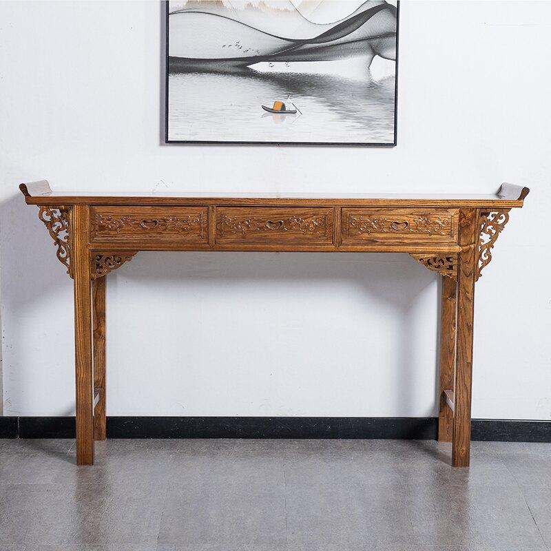 神桌 中式實木條案簡約榆木供桌佛台家用仿古供台長條几玄關隔斷櫃佛桌T