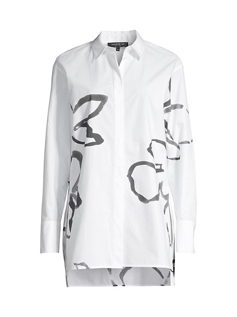 Pair it with leggings or tucked into trousers. This shirt flaunts a modern longline cut with a paint