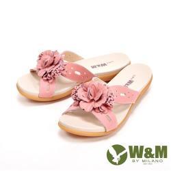 W&M 花朵朵彈力防滑底休閒 女拖鞋-粉(另有水藍)