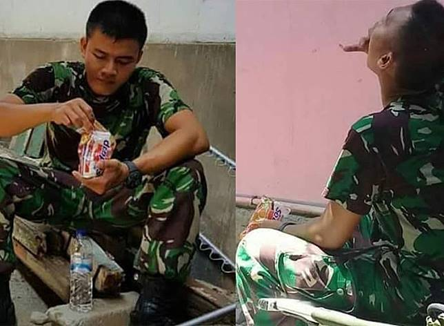Demi Tahan Lapar, Potret Prajurit TNI di Palu yang Makan Mi Instan Tanpa Diseduh Jadi Sorotan