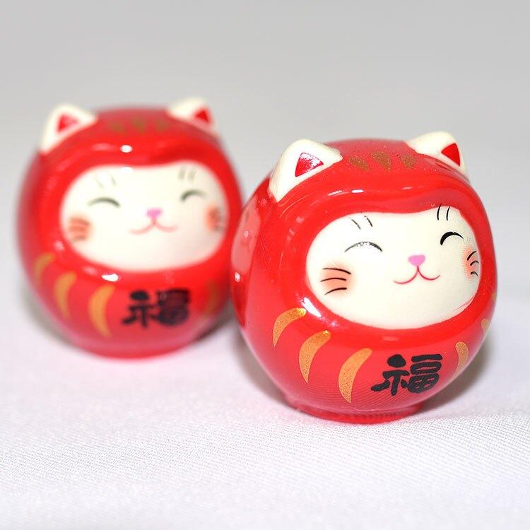 兩個一對 幸福幸運招財貓不倒翁 附開運小籤詩 日本 藥師窯製