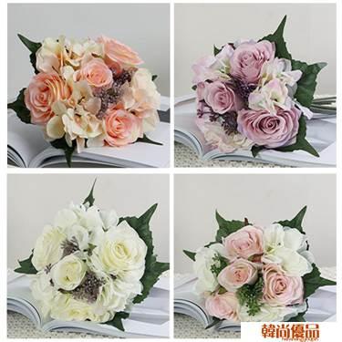 小清新ins仿真玫瑰花假花絹花藝裝飾插家居擺設客廳手捧花束干花