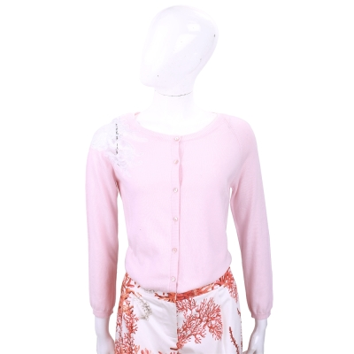 ROCCO RAGNI 粉色蕾絲拼接針織薄外套