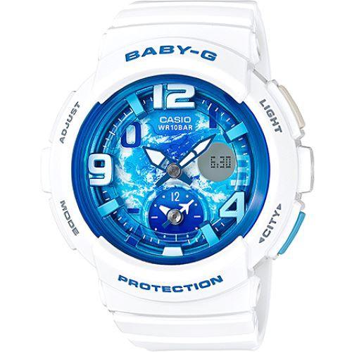Baby-G BGA-190GL-7B 清澈湖水藍運動錶 白 雙時區 BGA-190GL-7BDR