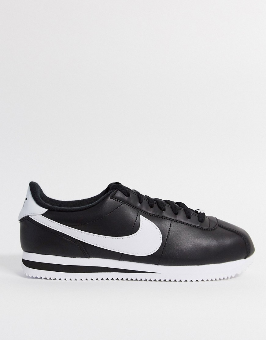 Nike Cortez leather trainers in black