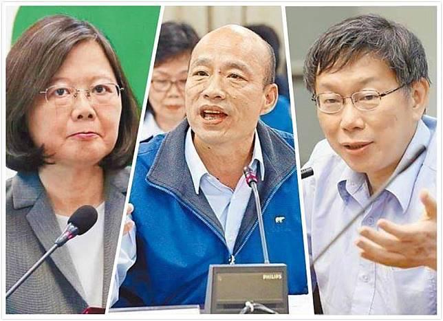 總統蔡英文(左)、高雄市長韓國瑜(中)、台北市長柯文哲(右)。(合成圖/中時資料照)