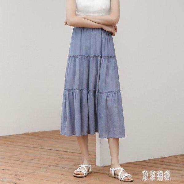 雪紡半身裙 夏季2019新款蛋糕裙中長款高腰a字裙子雪紡百褶裙zh4958『東京潮流』