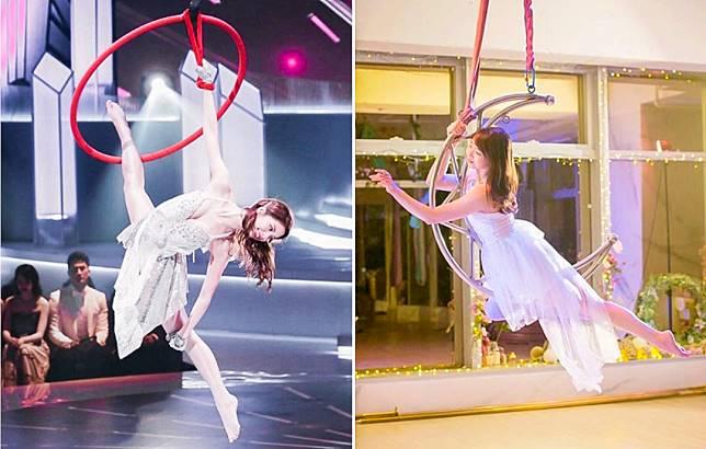 上年香港小姐冠軍陳曉華(Hera)曾以空中吊環作為才藝表演。(IG圖片)