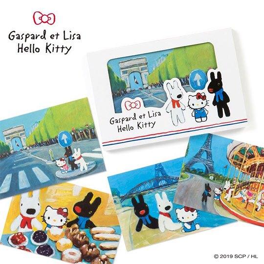〔小禮堂〕Hello Kitty x 麗莎與卡斯柏 日製橫式便條本《藍白.巴黎》便條紙.留言紙