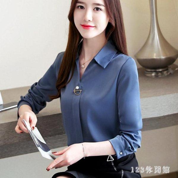 白色襯衣2019新款秋季V領長袖襯衫職業裝工作服女設計感小眾寬鬆打底衫
