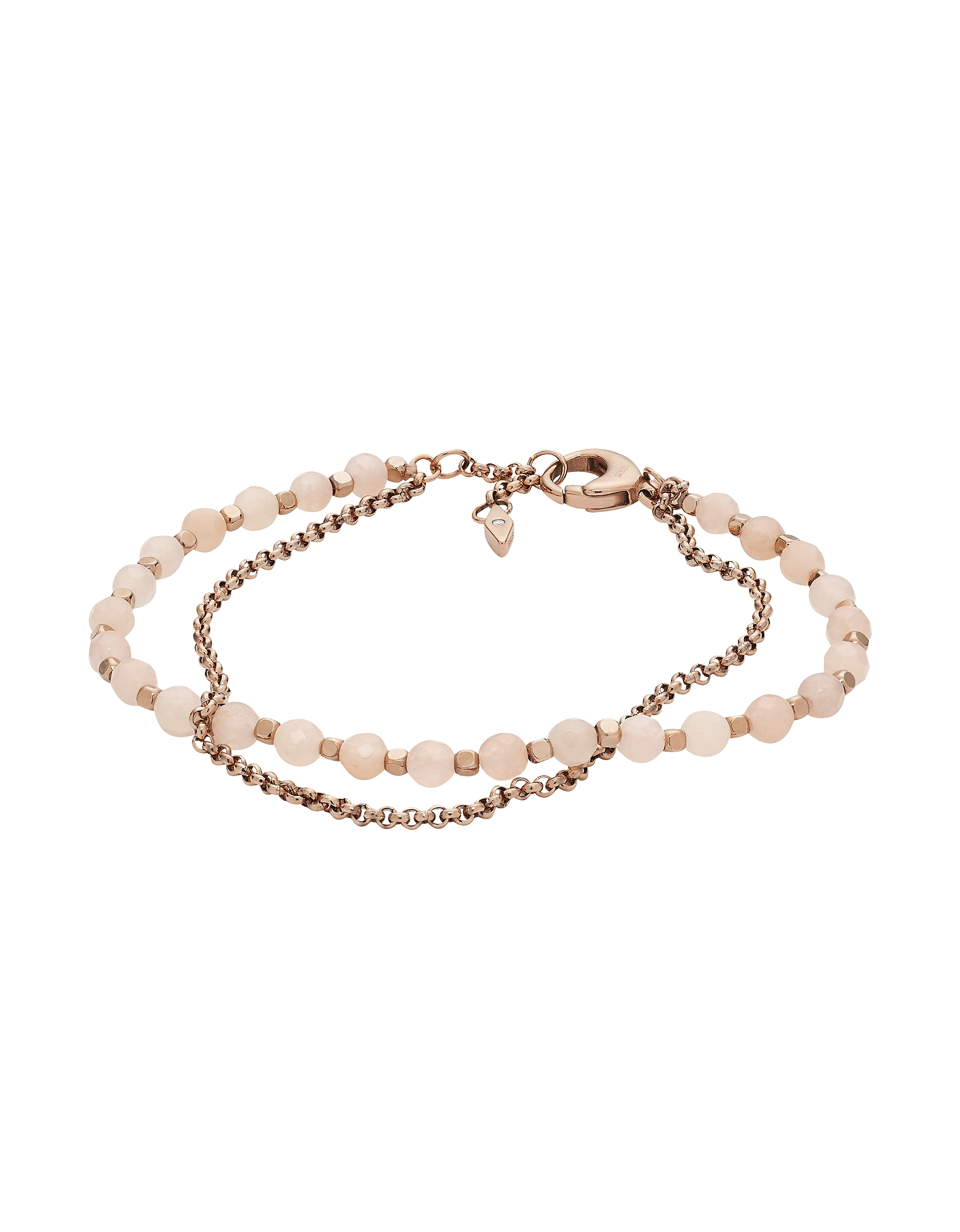 Pink Semi-Precious Double Chain Bracelet, is a stack-worthy essential with an ultra chic vibe. Featu