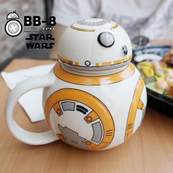 馬克杯 星球大戰StarWars創意動漫周邊bb8機器人咖啡杯陶瓷杯帶蓋馬克杯 城市科技