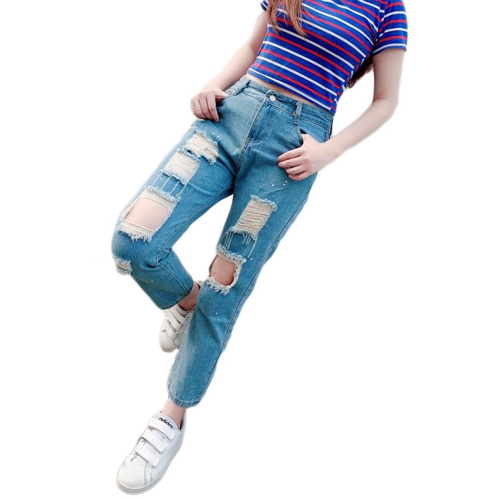 BANG T3 新款 刷破牛仔褲 歐美時尚 百搭 寬鬆 顯瘦 膝蓋破洞 九分牛仔褲 牛仔褲 長褲 女生【G26】