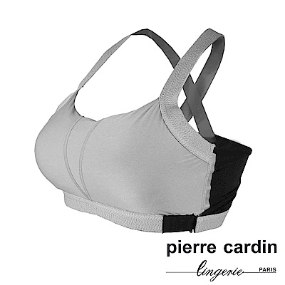 Pierre Cardin皮爾卡登 美背吸濕排汗無鋼圈運動內衣(GRY-灰)吸濕排汗保持乾爽下圍環扣可調節設計交叉美背肩帶