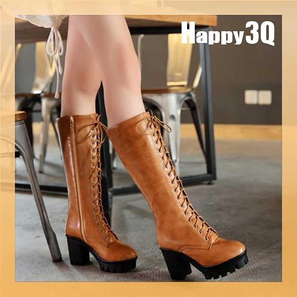 時尚復古英倫舒適騎士風粗跟綁帶中長筒及膝靴-棕/黃/黑34-43【AAA0858】