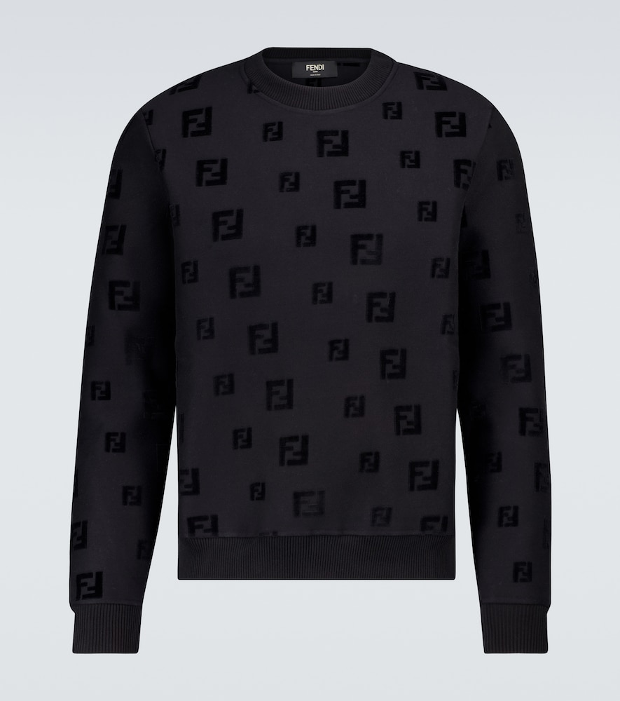 Italian-made in a technical cotton blend, this all-black sweatshirt from Fendi features an all-over