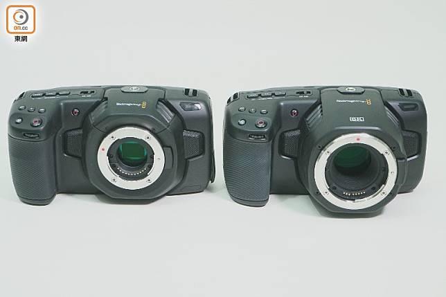 BMPCC 6K(右)比上一代4K版(左)稍為大部,後者用上M4/3系統,售價較平,如覺得4K畫質已足夠,變相更抵玩。(莫文俊攝)