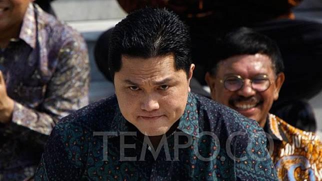 Menteri BUMN Erick Thohir saat perkenalan Menteri Kabinet Indonesia Maju di Veranda Istana Negara, Jakarta, Rabu, 23 Oktober 2019. TEMPO/Subekti