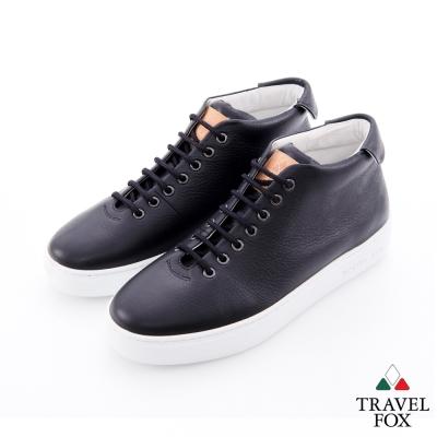 Travel Fox(男) 世界不用太複雜 牛皮半高筒休閒鞋 - 黑