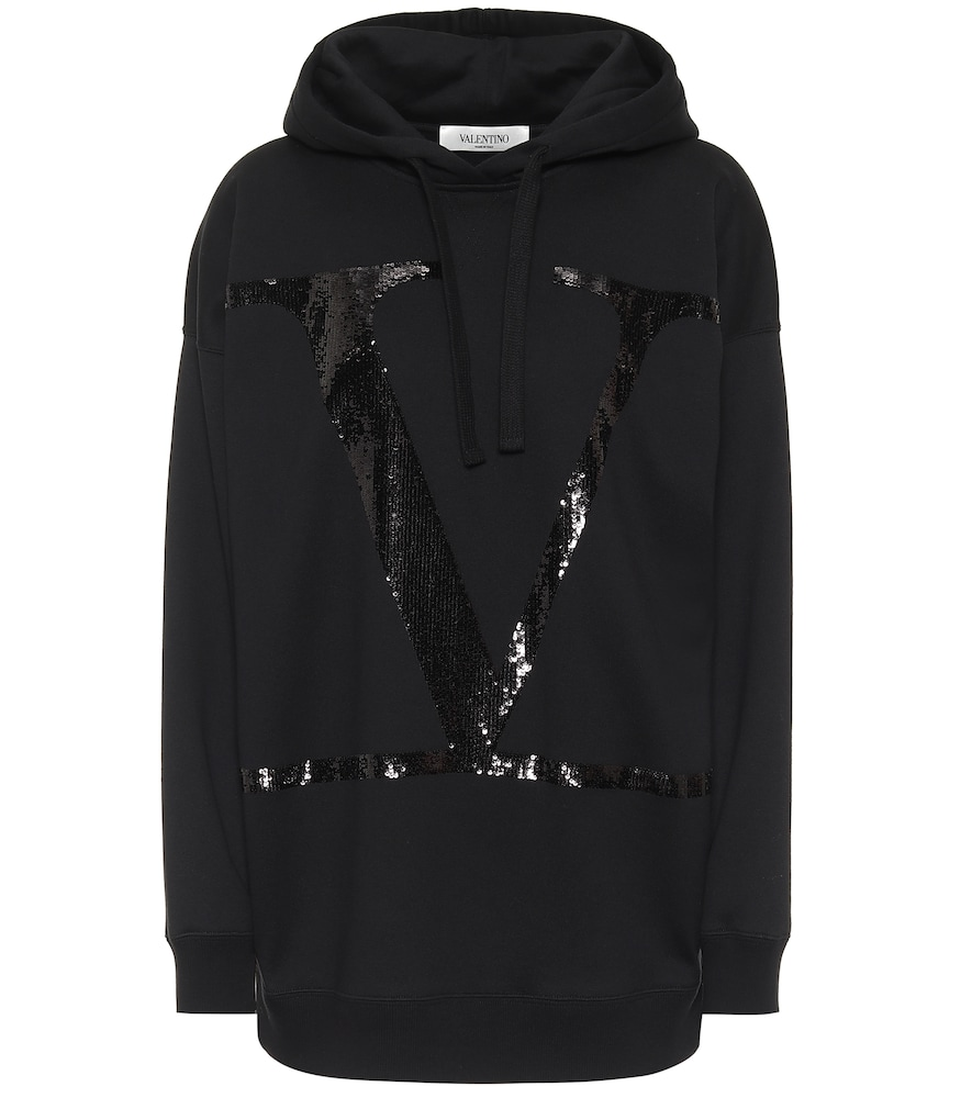 Proclaim your devotion to Valentino with this black sequined VLOGO hoodie.