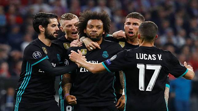 Pemain belakang Real Madrid Marcelo (tengah)./Reuters