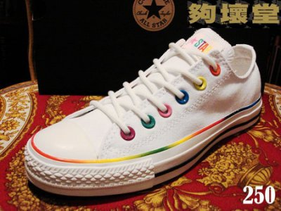 【夠壞堂】美國CONVERSE ALL STAR 帆布鞋,型號CON250、251 彩虹黑白基本款男款NG價590元
