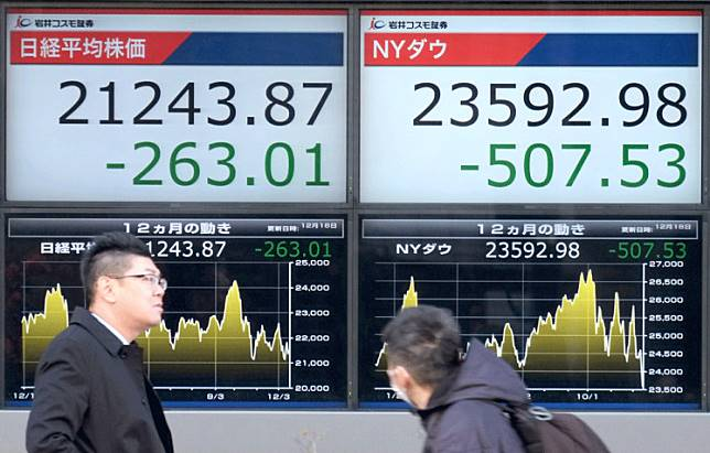 Volatility looms: Pedestrians walk past a stock indicator board showing share prices of the Tokyo Stock Exchange (left) and the New York Dow (right) in Tokyo in this undated file photo.