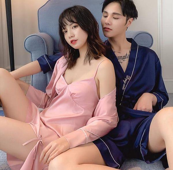 睡衣情侶睡衣女夏季性感冰絲薄款睡袍吊帶兩件套絲綢男士睡裙女 晴天時尚館