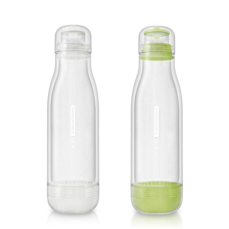 防撞玻璃水瓶500ml (兩入) 粉綠+白色