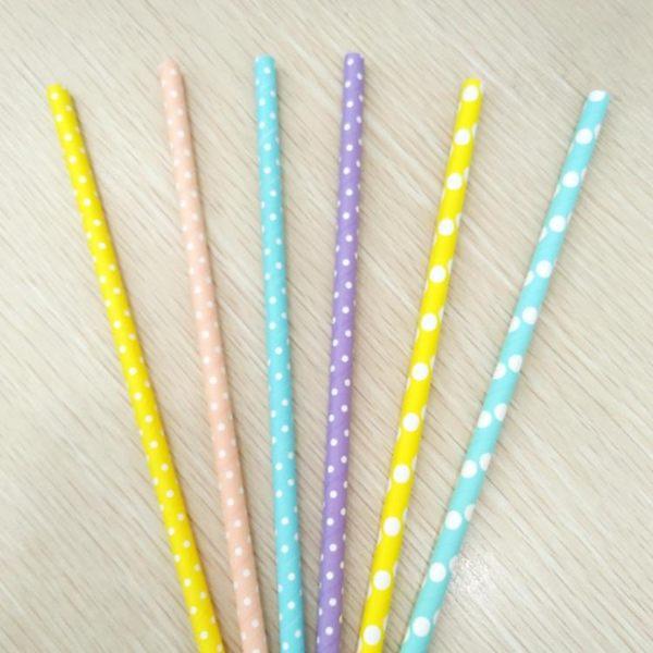 【100支】8MM/10mm粗25CM奶昔奶茶圓點創意裝飾環保紙漿吸管夏沫居家