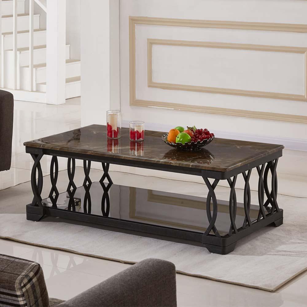 【AT HOME】北歐設計4.3尺石面大茶几/客廳桌/邊桌(130x70x46cm)黑格爾