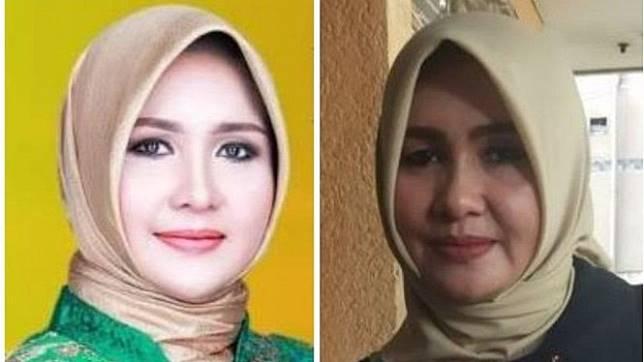 Yang kiri adalah foto Evi Epita Maya yang dipakai saat pemilu anggota DPD Nusa Tenggara Barat. Foto kanan adalah ketika ditemui wartawan Kompas pada 14 Mei 2019. - KPUD NTB/KOMPAS.COM